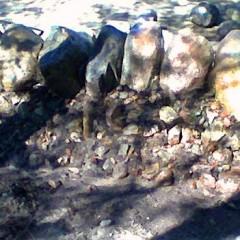 Kivien sekainen hiekka levitetty ja ohjattu rakoihin vedellä.